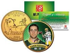 AARON RODGERS Colorized Wisconsin Statehood Quarter 24K Gold Plated Coin PACKERS