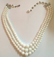 Vintage Laguna White Milk Glass Faceted Beads Triple Strand Necklace