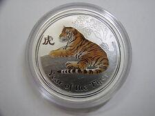 """Australien , 1 Dollar 2010 ST, Lunar II  """" Jahr des Tigers """", Silber mit Farbe"""