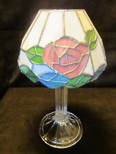 "Pillar Fairy lamp Tiffany style shade slag Art glass 13"" tall Unique Vintage"