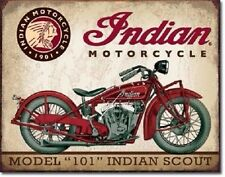 """INDIAN MOTORCYCLE 12"""" x 16"""" Vintage Style. Metal Tin Signs Scout Harley Man Cave"""