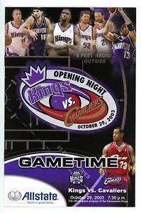 LeBron James Oct 29 2003 NBA DEBUT Kings vs Cavaliers Game Program