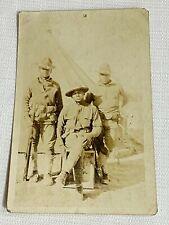 Antique Black Americana 3 Black Soldiers Uniform Guns Real Photo Postcard RPPC