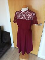 Ladies NEW LOOK Dress Size 10 Maternity Pregnancy Red Lace Trim Party