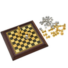 1:12 Toy Metal Silver Golden Chess and Board Set Play Game Dollhouse Accessories