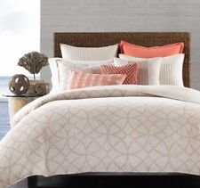 Hotel Collection Textured Lattice Linen Full/Queen Duvet Cover Poppy New