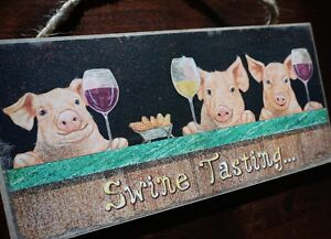 SWINE TASTING PIGS SIGN Wine Cellar Bar Tavern Rustic Country Kitchen Home Decor