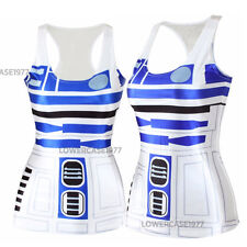 R2D2 Camiseta sin mangas, talla 10, cómics, Geek, Sci-fi Star, robots Blanco Azul guerras Droid