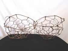 Vintage Pair of Antique Rusted Metal Wire Rustic Primitive Wall Hanging Baskets