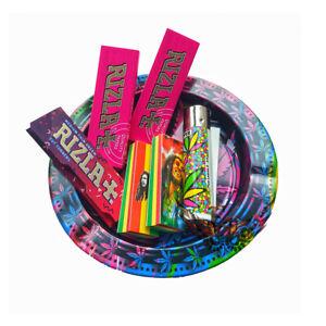 Pink Cigarette Ashtray Retro Leaf Theme Rizla Rolling Papers Clipper Lighter Set