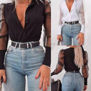 2021 Womens Sheer Puff Mesh Sleeve Ladies Clubwear Slim Tops T Shirt Blouse 8-26