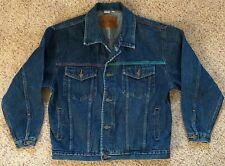Denim Jean Jacket 80's 90's Size Medium Color Blocking Trim Halloween Costume