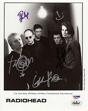 Radiohead Hand Signed 8x10 Group Photo Vintage+Rare Thom Yorke Psa Letter