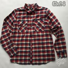 DC Boys L 16-18 Check Shirt 100% Cotton Long Sleeve Skate Casual Red Check