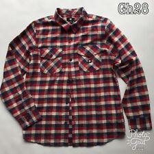 DC Boys L 16-18 Check Shirt 100% Cotton Long Sleeve Skate Casual Red Check