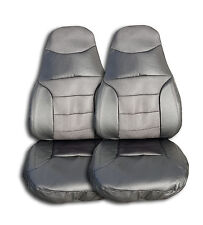 Black Mesh W/ Vinyl Chevy Express high back Car Seat Covers Set Of 2