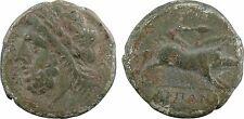 Apulie, Arpi, bronze avec Zeus et sanglier, 325-275 av J-C, patine - 1