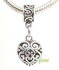 Filigree Scroll Heart Dangle Large Hole Slider Bead for European Charm Bracelet