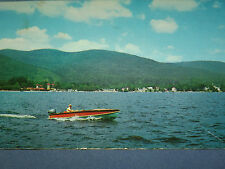VINTAGE  1959 BOAT ON LAKE GEORGE PROSPECT MOUNTAIN    NEW YORK   POSTCARD