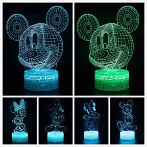 3D LED Minnie Mickey Maus Tischlampe Nachtlicht Nachttischlampe Geburtstag Gift