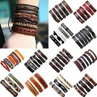 Multilayer Retro Leather Bracelet Handmade Men Punk Wristband Bangle Cuff Gift