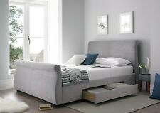 Luxury Olivia Upholstered Grey Storage Sleigh Bed with Drawers - King Size/5ft