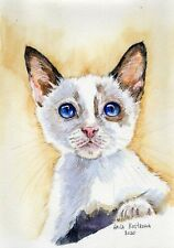 Blue Eyed Kitten original Gala Kostroma watercolor cat painting animal pet art
