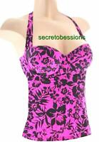 32A Victoria's Secret Raspberry Black Floral Molded Cup Push-up Tankini TOP NEW