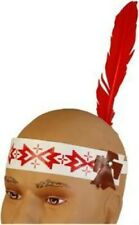 Native American Feathered Headband Red/Br/Wht Single Feather Costume Accs