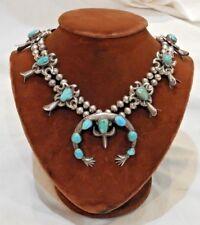 Native American Silver & Turquoise Squash Blossom Necklace w/ Naja Pendant