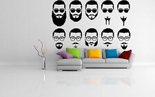 Vinyl Wall Decal Sticker Style Salon Signboard Barber Shop Hair Logo Beard F1258