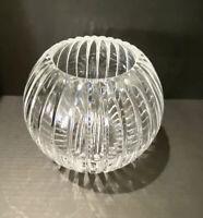 """Vintage Cut Crystal ROSE BOWL Round Vase - 4""""D"""