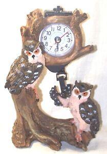 Pendule avec balancier 2 hiboux- décoration nature