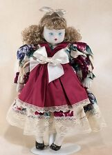 """Collector's Porcelain Doll 9.5"""" Curly Blond Hair Blue Eyes"""