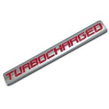 CHROME/RED METAL TURBOCHARGED ENGINE RACE MOTOR SWAP BADGE FOR TRUNK HOOD DOOR