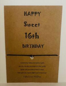 Wish Bracelet 'Happy Sweet 16th Birthday' Cute Tibetan Silver Heart Charm!