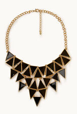 Bib Necklace Stunning Geometric Black Enamel Jewelry Oversized Necklaces NWT