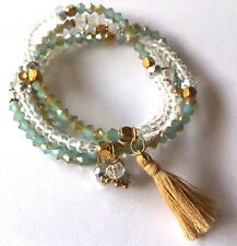 Shamballa Jewelry Clear and Blue Jade Faceted with Gold Tassel Bracelet -