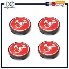4x Cache Moyeu Centre Roue pour fiat abarth 60mm  Badge Logo rouge silver noir