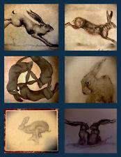 Easter Offer! 6 Signed Vintage Hare Bunny English Folk Art Prints On Parchment.