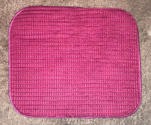 "Satin Ruby Magenta Textured Fabric Floor Mat Door Kitchen Bathroom 18x15"" Small"