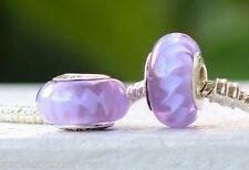 New!  925 solid Sterling Silver Purple Zig Zag Murano Glass Bead Charm
