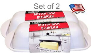 Cooking Concept Butter Dish Single Stick White Set of 2 with Lid Durable Sturdy
