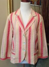 Cabi Jacket Women's 10 Red Pink Green Off White 3 Button Front Pockets Stripes