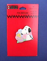 Hallmark PIN Easter Vintage SNOOPY WOODSTOCK EGG Flowers Holiday Brooch NEW