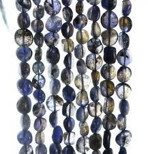 "6X4-9X8MM  BERMUDAN BLUE IOLITE GEMSTONE BLUE PEBBLE NUGGET LOOSE BEADS 14"""