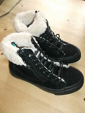 Spot On! Round Toe Faux Fur Trimmed Ankle Boots UK 10 EU 28 Black Mix BNWoB