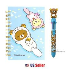 San-x Rilakkuma B6 Spiral Lined Notebook 8 Color Pen Set : Otter Rilakkuma 2