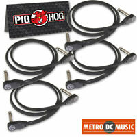 "4-Pack Pig Hog Low Profile Flat 24"" Right-Angle Patch Cable Cord Pedal 2 ft NEW"