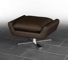 Genuine leather footstool ottoman leather white or dark brown